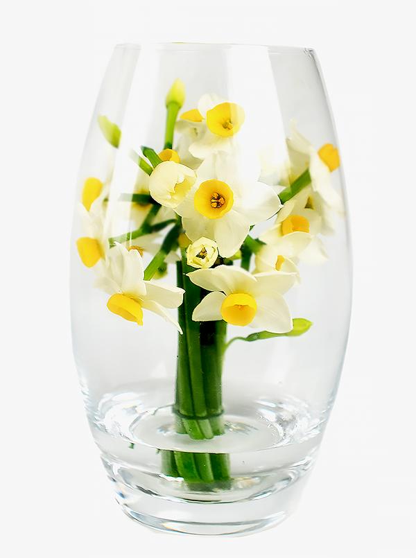 スイセンをガラスの花器で